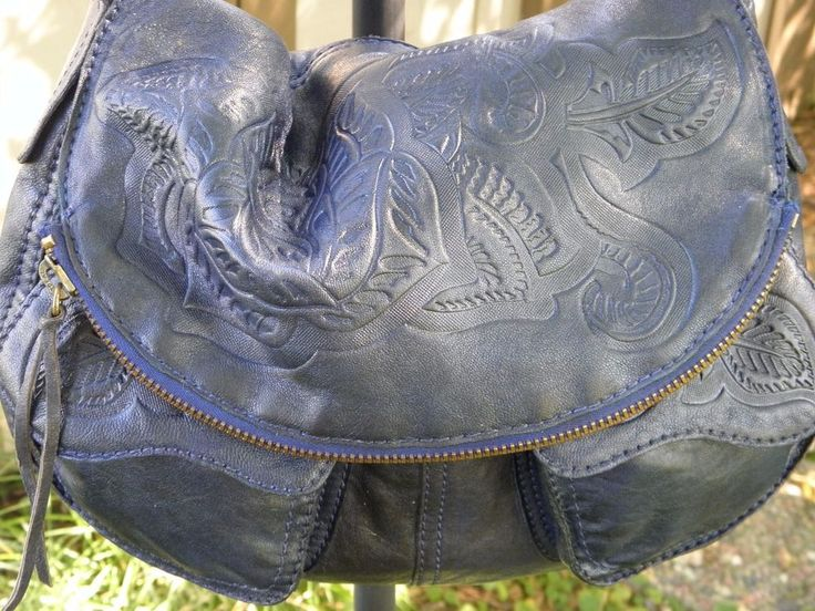 LUCKY BRAND RAMBLIN ROSE STASH BAG-NAVY-100% TOOLED LAMB LEATHER ROSE DESIGN #LuckyBrand #ShoulderBag 9-24-17 Ebay Item 202064246808. -- SOLD! -- On it's way to TEXAS!