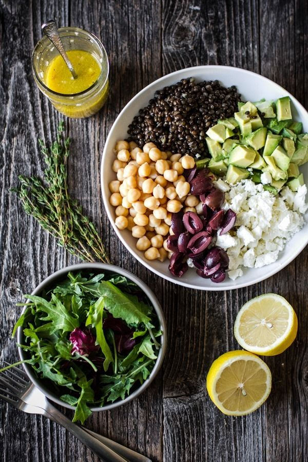 Chickpea Lentil Salad with Shallot White Wine Vinaigrette | edibleperspective.com