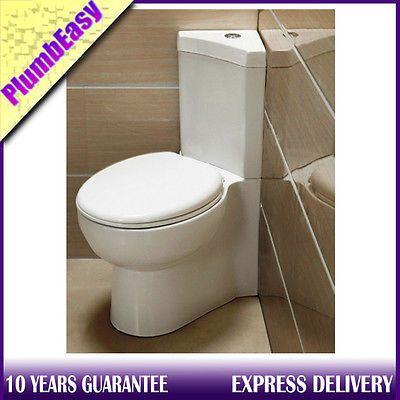 Venice Modern Close Coupled Corner Toilet WC Pan Cistern Soft Seat 127