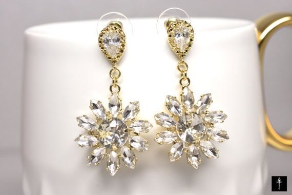 Crystal Earrings with  Drop Cubic zirconia earring 925 by BYTWINS