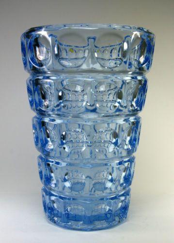 Czech Czechoslovakia Rudolf Jurnikl Union Art Deco Glass Vase Lens Vintage 1961