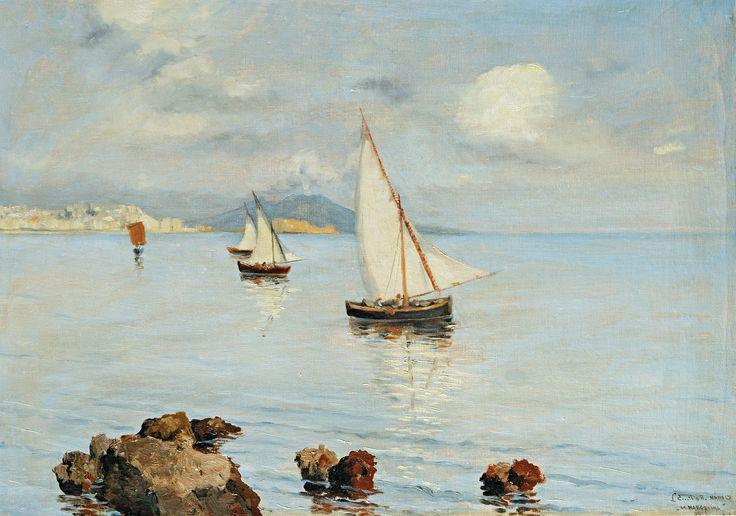 Aukció: 2016. december 14.: L. Emilio H. jelzéssel; Vitorlások a nápolyi öbölben; olaj, vászon