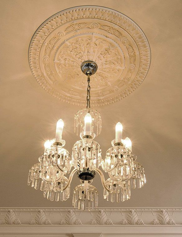 Medallion Chandelier: ceiling decor with crown molding, ceiling medallion and crystal chandelier  - #medallions #ceilingmedallions,Lighting