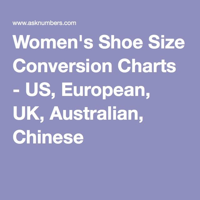 Just for reference: Women's Shoe Size Conversion Charts - US, Europe, UK, Australia, Mexico, Japan, China