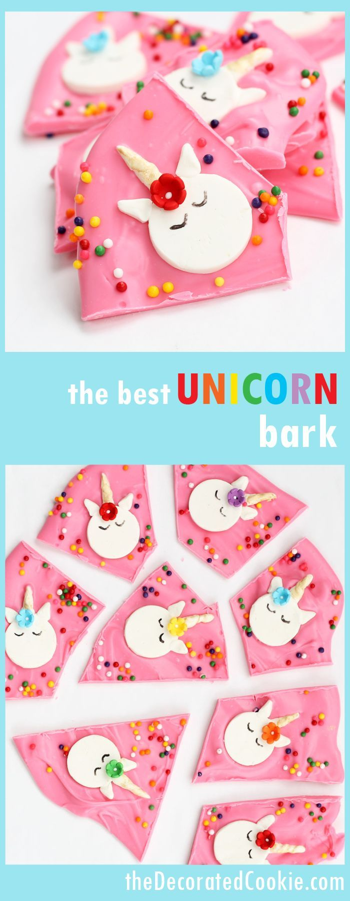 UNICORN chocolate bark! Great dessert for rainbow and unicorn parties
