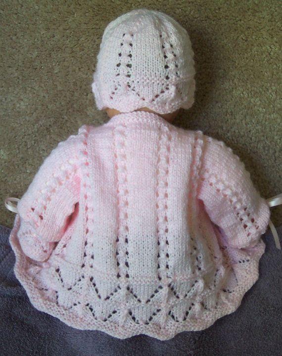 Custom handmade knit baby girls pink scalloped by hart2hartcrafts