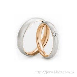 Гладкие обручальные кольца с бриллиантом