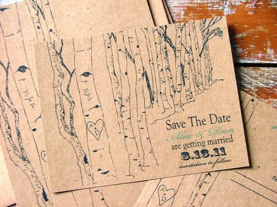 DIY Aspen trees Save the date cards Woodland by sweetcookie. $40.00, via Etsy.