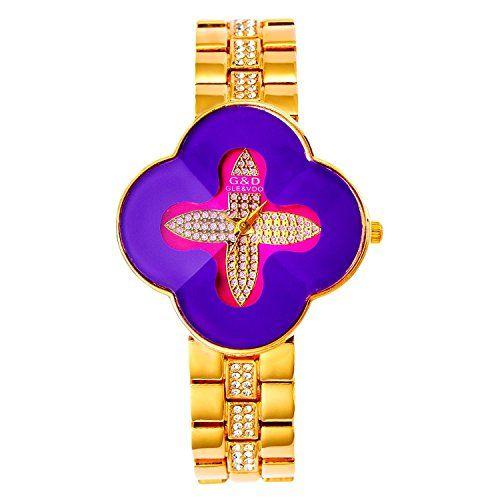 harwish Damen Stahl Armband Quarz mit Diamant Zifferblatt kreuzförmige Kleid Armbanduhren Lila - http://uhr.haus/harwish/harwish-damen-stahl-armband-quarz-mit-diamant-3