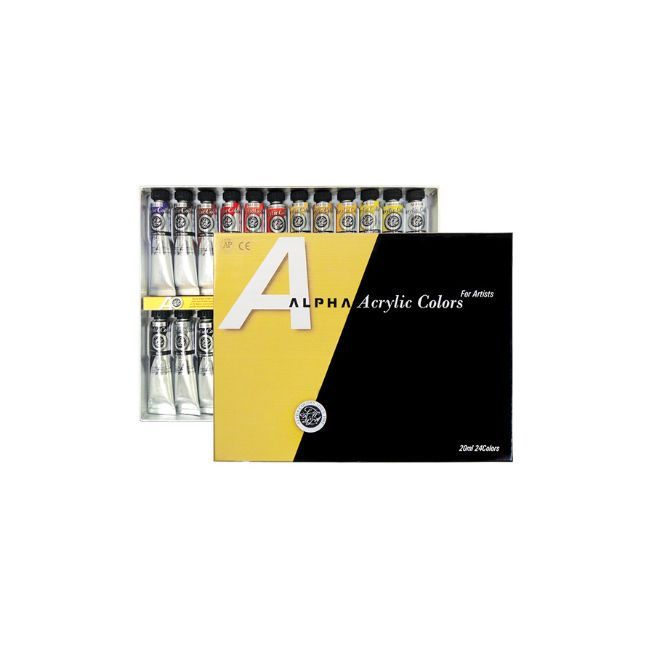 Premium Acrylic Color Paint Alpha Gold Label Set 24 Colors 20ml 0.67oz Tube  #Alpha