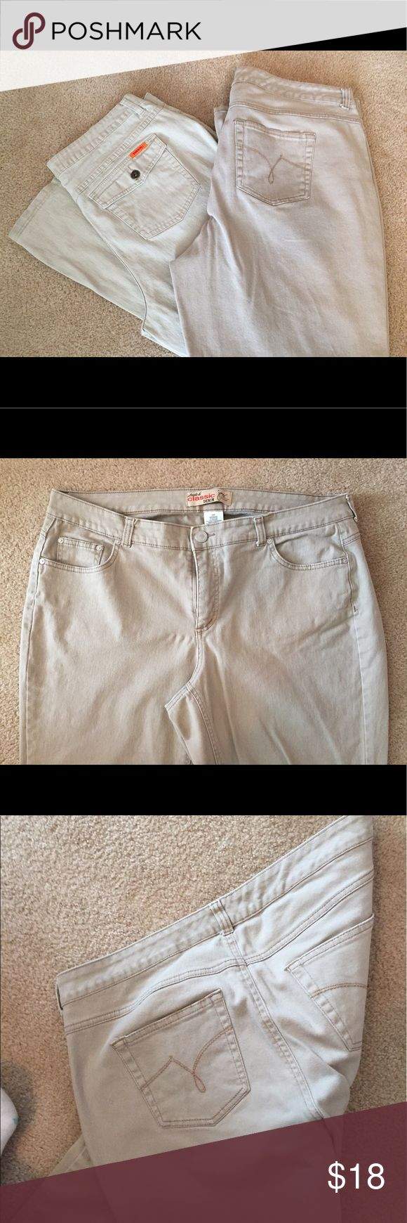 Kaki Jean Pair I am selling two pairs of kaki jeans in this offer.  One pair is a size 20 and the other is a size 18. Both pairs are medium length. Take advantage of my pairs, they will save you a lot of dough.  You can bundle for even more savings! Jeans Boot Cut