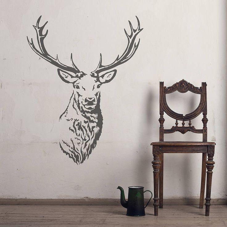 stag head vinyl wall sticker by oakdene designs | notonthehighstreet.com