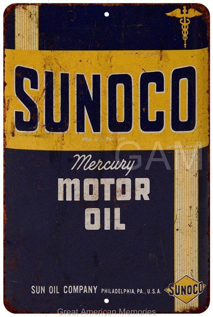 SUNOCO Mercury Motor Oil Vintage Look Reproduction 8x12 Metal Sign 8120834