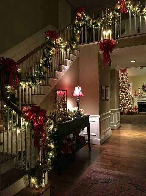Christmas decor for the main hall and stairs