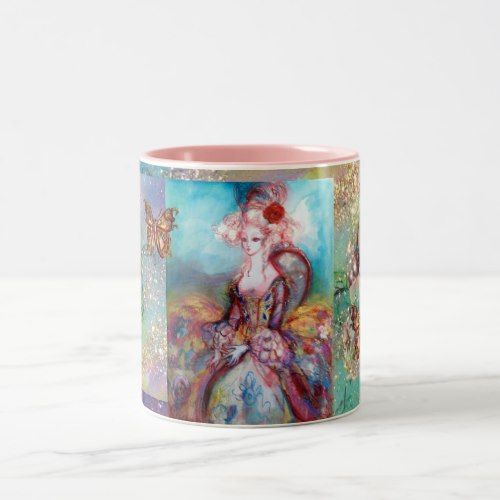 MADAME POMPADOUR / BUTTERFLY IN GOLD SPARKLES Two-Tone COFFEE MUG