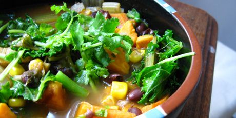 A healthy, colourful and delicious soup filled with black beans, corn, celery, sweet potatoes, kale, brown rice and spices.Courtesy of Tamara Green of The Living Kitchen.