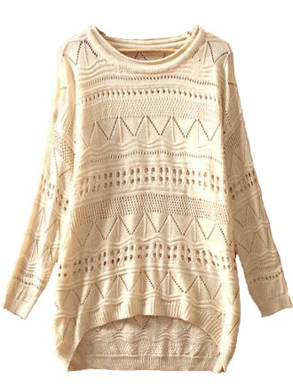 Geometric Eyelet Knit Sweater.. Lots of cute sweaters