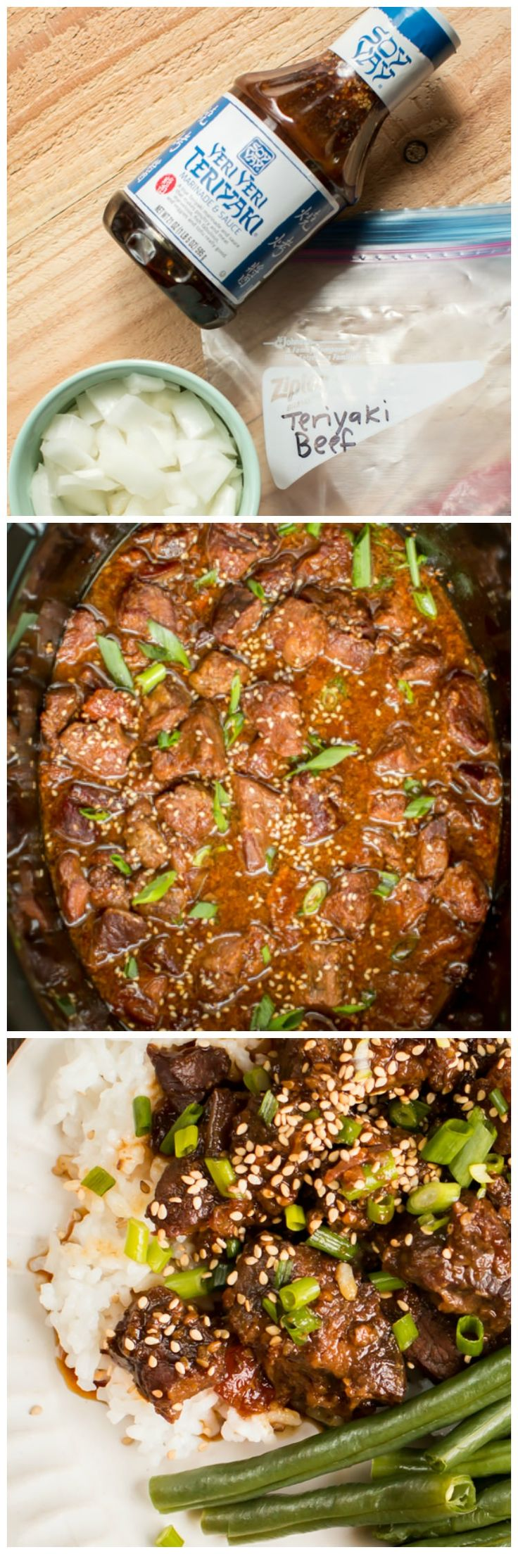 Slow Cooker Teriyaki Beef. Only 3 ingredients to get this meal started in the slow cooker! Can be made into a freezer meal! (Slow Cooker Recipes Freezer)