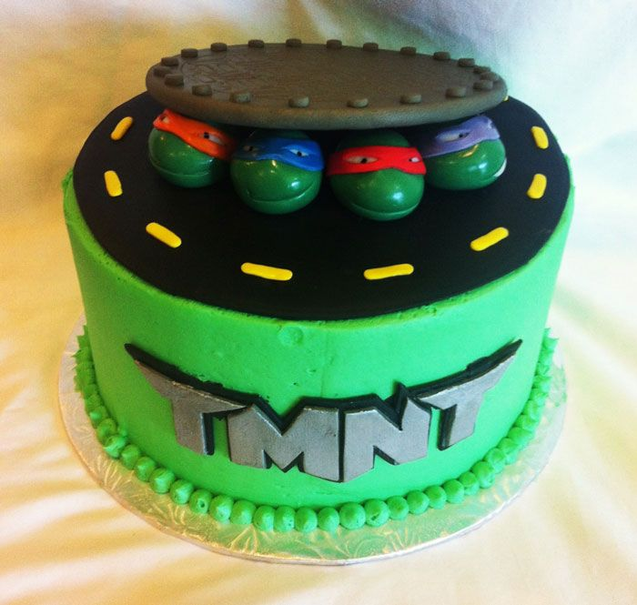 Simple Ninja Turtle Cake, Ninja Turtle birthday cake ~ KenzieCakes.com
