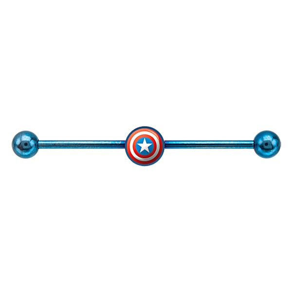 Captain America's Shield Industrial Piercing Steel Barbell at FreshTrends.com Our Price: $12.99