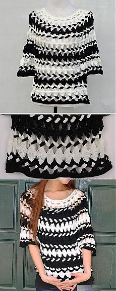 Black and White Striped Tunic Sheer Blouse от Tinacrochetstudio       ♪ ♪ ... #inspiration #diy GB http://www.pinterest.com/gigibrazil/boards/
