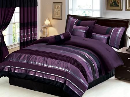 black+silver+purple+bedroom | New 7 PC Queen Size Royal Purple Black Silver Striped Bedding ...