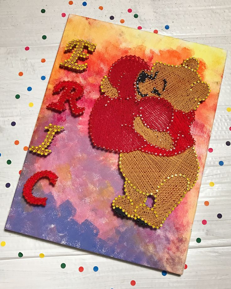 Winnie the Pooh string art / string art Winnie / nursery decoration (fb: www.facebook.com/atelierulluighidus)