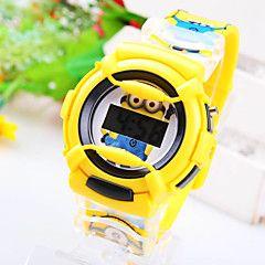 kids 'cirkulære dial lille gule mennesker mønster tegneserie elektronisk ur (assorterede farver)