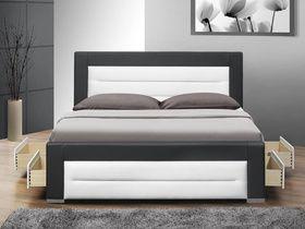 Manželská posteľ s čelom pri hlave aj nohách z materiálu DTD laminovaná vo farebnom prevedení: dub sonoma a čokoláda. Posteľ je s úložným priestorom, dodáva | NovýNábytok.sk, najväčší eshop s nábytkom v SR