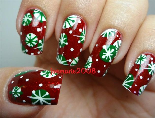 Retro Snowflakes Nail Design - Nail Art Gallery by NAILS Magazine
