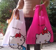 Kawaii 34 * 38 CM aprox. Hello Kitty mujeres exterior bolso bolso de compras reutilizable plegable de almacenamiento de hombro taleguilla de la bolsa(China (Mainland))