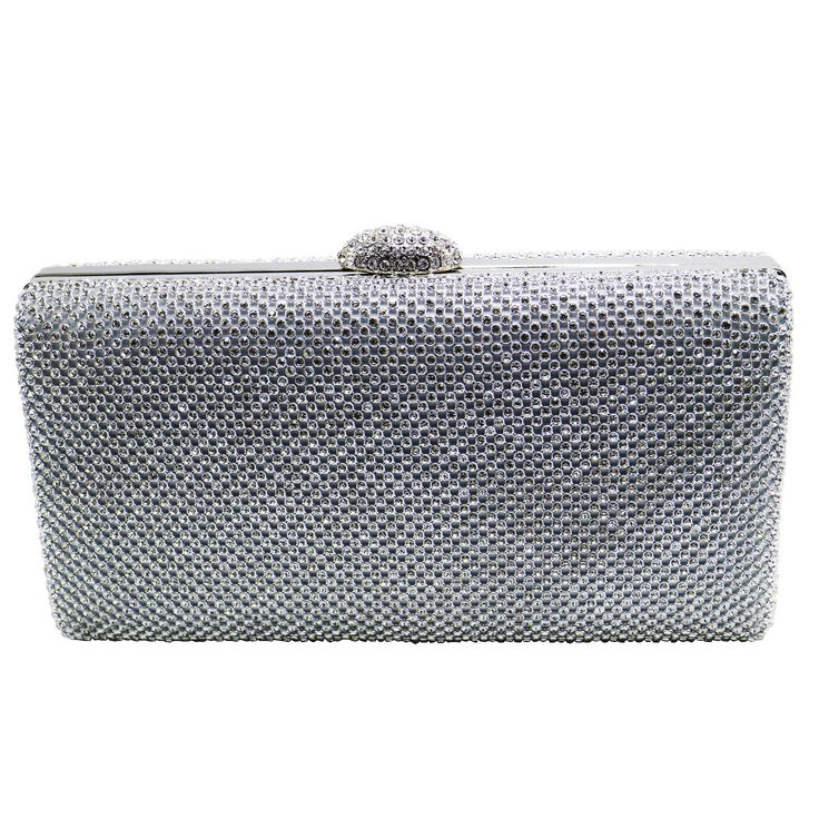 DMIX Crystal Clutch Evening Bags For Women Clutch Silver. Each evening clutch bag encrusted with quality A grade crystals. Using K gold plating process for our evening bags, each hardware is carefully selected, no scratches, no rust on the surface. Each rhinestone clutch withs two optional long and short chains inside. Each evening bag has a crystal clasp on top as a safe closure. Size of this clutch bag: Length 8.7 Inches, Height 4.7 Inches, Depth 2.0 Inches.