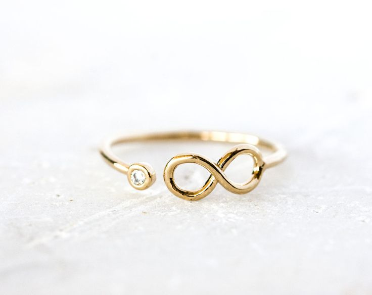 1968_Gold infinity ring, Cubic zirconia ring, Tiny ring, Infinity symbol ring, Adjustable ring, Jewelry rings Infinite rings Small ring_1 pc by PurrrMurrr on Etsy