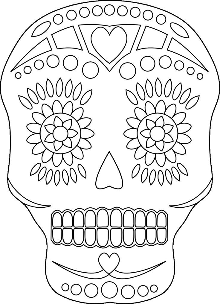 Day of the Dead Sugar Skull coloring page | Free Printable ... | 1016x736