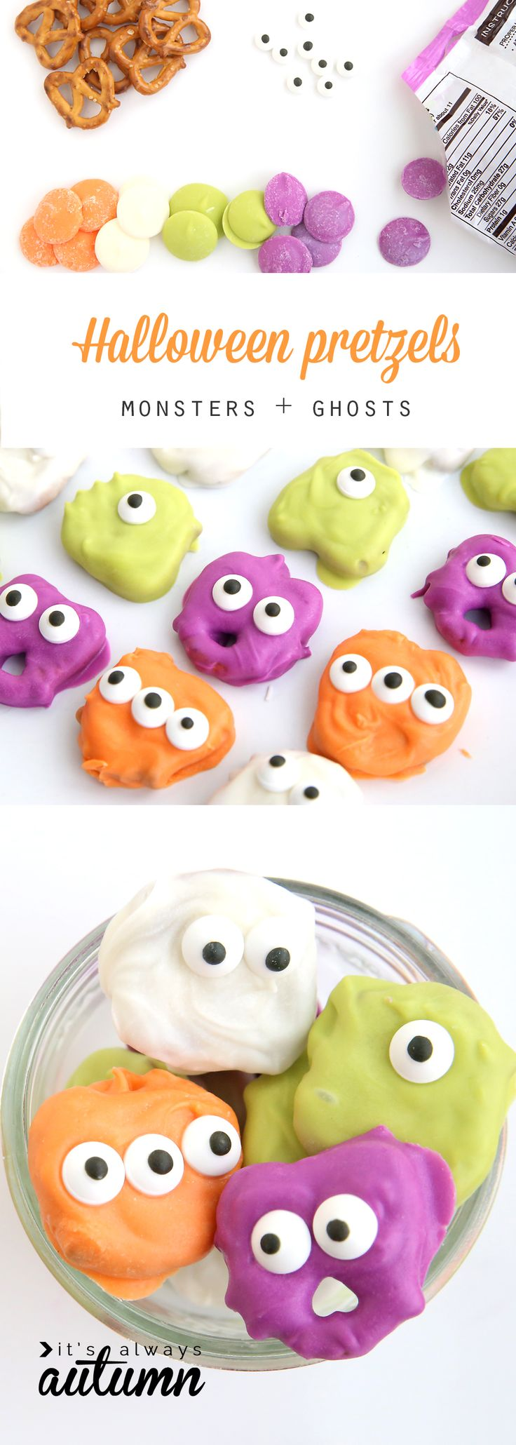 pretzel monsters and ghosts for halloween fun easy treat to make with - Easy Kids Halloween Crafts Ideas