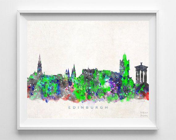 Edinburgh Skyline Print Scotland Print Edinburgh by InkistPrints