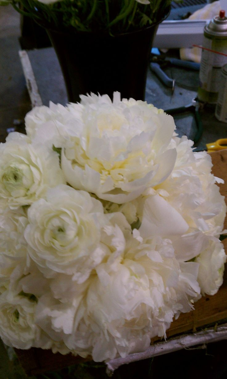 White peonies in a hand-tied looking bridal bouquet.