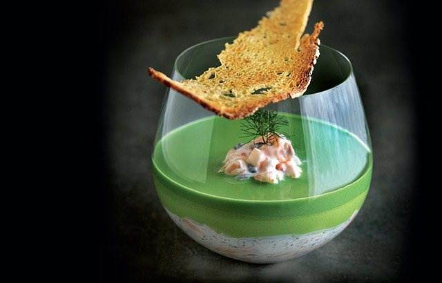 Potted Salmon with cucumber, creme fraiche and watercress recipe from Chef Phil Howard.