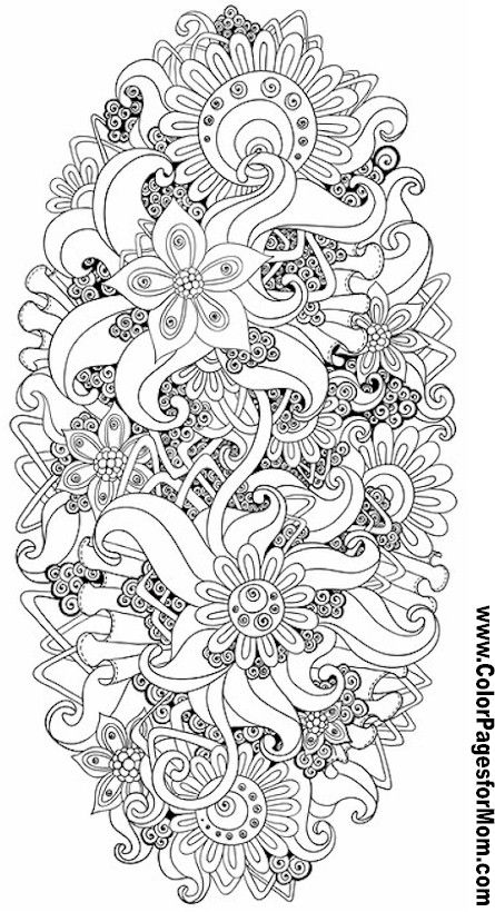 Flower Abstract Doodle Zentangle ZenDoodle Paisley Coloring Pages Colouring Adult Detailed Advanced Printable