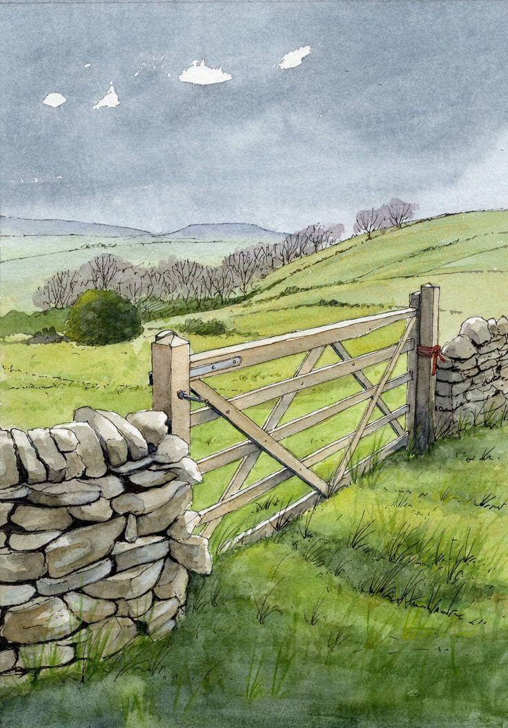 Yorkshire Dales Gate - sketch - John Edwards