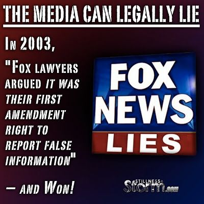 """#Disclosure #FoxNews #Legally #Lies #Fraud #Court #Media  The Media Can Legally Lie, Here's the Proof   In 2003, """"Fox lawyers argued it was their first amendment right to report false information"""" – and Won! 5/23/2016  In an indirect way, a Florida court in 2003 effectively gave Foxnews, and by extension, all of the mainstream media, legal... #StillnessintheStorm #SITS"""