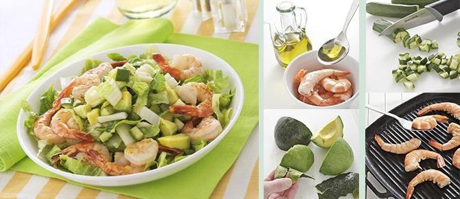 insalata di gamberi.avocado e zucchine