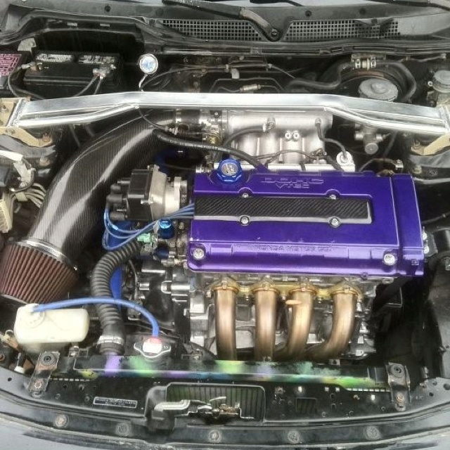 boyfriend's engine bay  Honda, Acura, integra, civic, prelude, gsr, vtec, jdm, volk, rays, bbs, xxr, rota, lowered, turbo