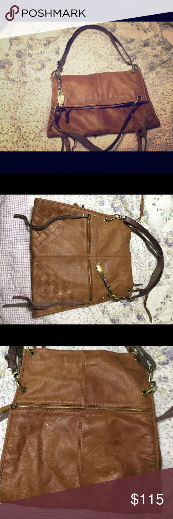 Lucky fold over purse Lucky brand fold over purse in excellent used condition there are a few scratches from use but still in almost new condition very soft leather **my home is not smoke nor pet free so please be aware**        Thanks for looking Lucky Brand Bags Shoulder Bags