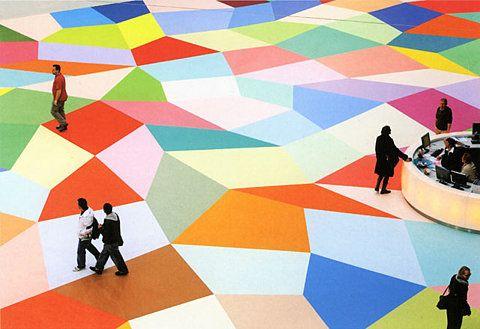 George Korsmit - Documentation - Comissioned floorpiece, 'Here I am' for ROC Almelo, 2006  www.georgekorsmit.com/img/1-roc.jpg