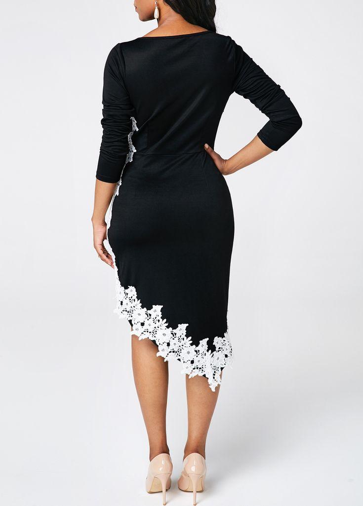 Black Lace Panel Long Sleeve Bodycon Dress   Rosewe.com – USD $35.06