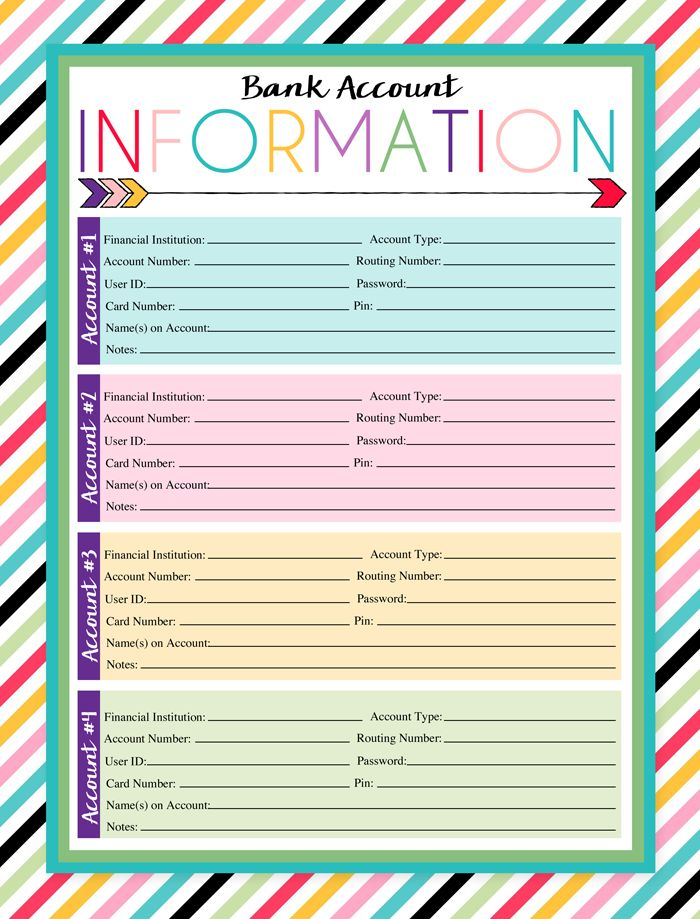 Free Printable Bank Account Information Log | A series of over 30 free organizational printables from ishouldbemoppingthefloor.com | Three Designs & Instant Downloads