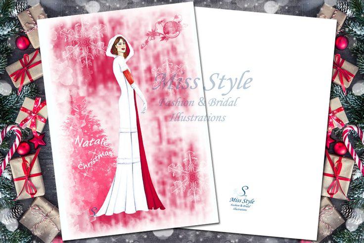 Ragazza del Natale, biglietto d'auguri, illustrazione moda, idea regalo, digital download di MissStyleCreazioni su Etsy