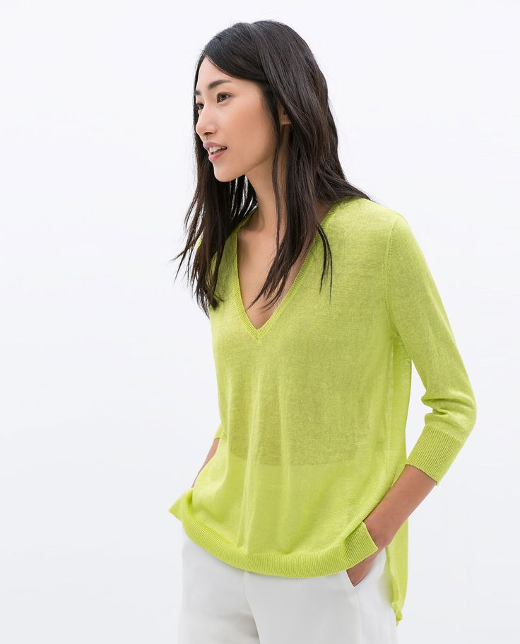 ZARA - WOMAN - LINEN TOP WITH ASYMMETRIC HEM