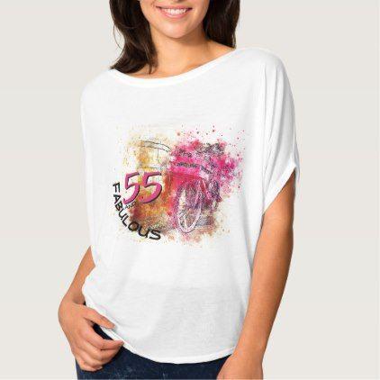 55th Birthday Typography | Magenta Color Splash T-Shirt - typography gifts unique custom diy